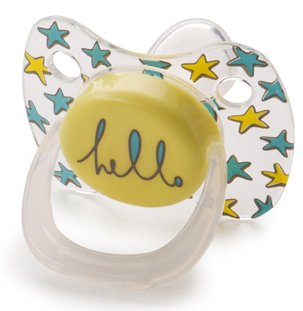 Happy Baby Пустышка силиконовая ортодонтическая от 12 до 24 месяцев цвет желтый