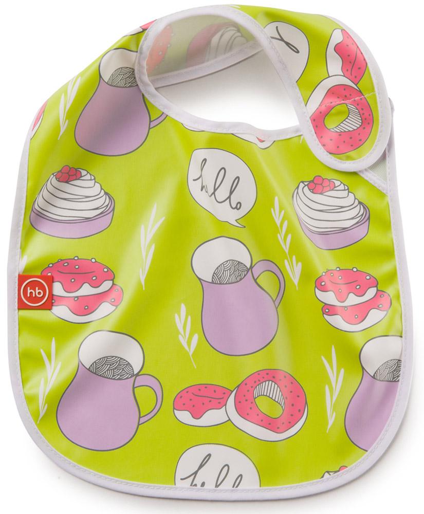 Happy Baby Фартук нагрудный Привет16009_салатовый, мультиколорНагрудный фартук Happy Baby Привет выполнен из полиуретана, полиэстера и хлопка и украшен изображением кувшина, торта и пирожных. Фартук имеет удобную застежку-липучку для быстрого надевания и снимания. Нагрудный фартук Happy Baby Привет поможет защитить одежду малыша во время кормления. Рекомендовано детям от 6 месяцев.