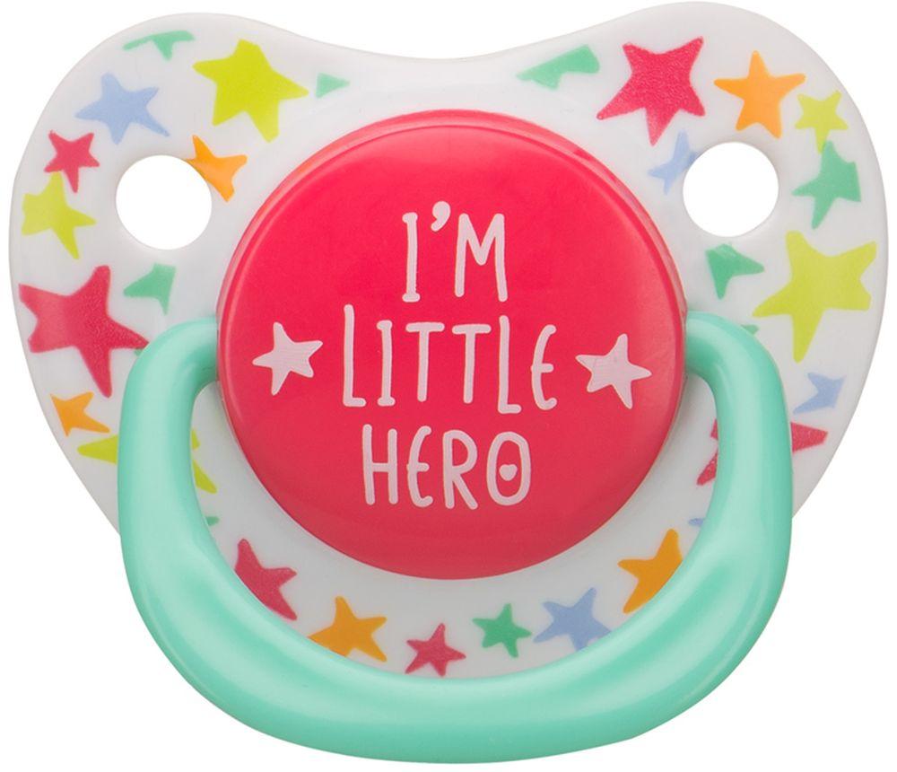 Happy Baby Соска-пустышка силиконовая с колпачком Я герой от 0 до 12 месяцев ( 13008_белый,бирюзовый,красный )