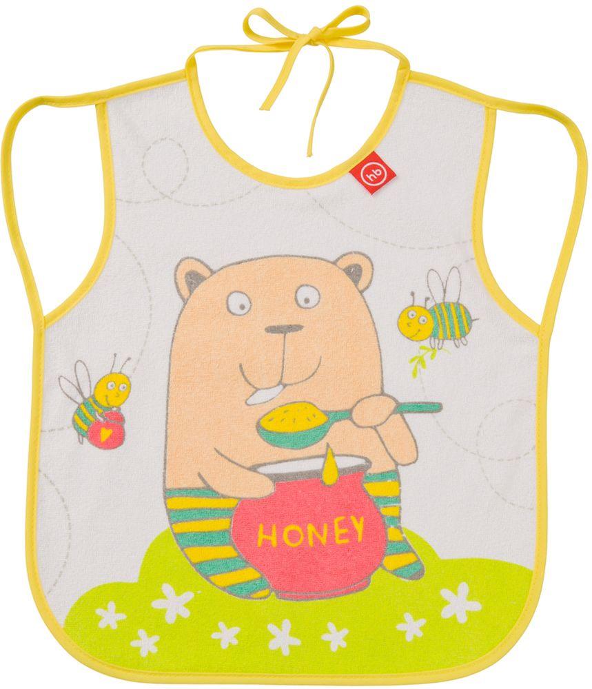 Happy Baby Фартук нагрудный Мишка16011_медвежонокНагрудный фартук Happy Baby Мишка выполнен из хлопка, полиэстера и ЭВА и украшен изображением мишки с банкой меда и пчелками. Фартук имеет непромокаемую подкладку, мягкий, приятный на ощупь материал, удобную завязку для быстрого надевания и снимания. Нагрудный фартук Happy Baby Мишка поможет защитить одежду малыша во время кормления. Рекомендовано детям от 6 месяцев.