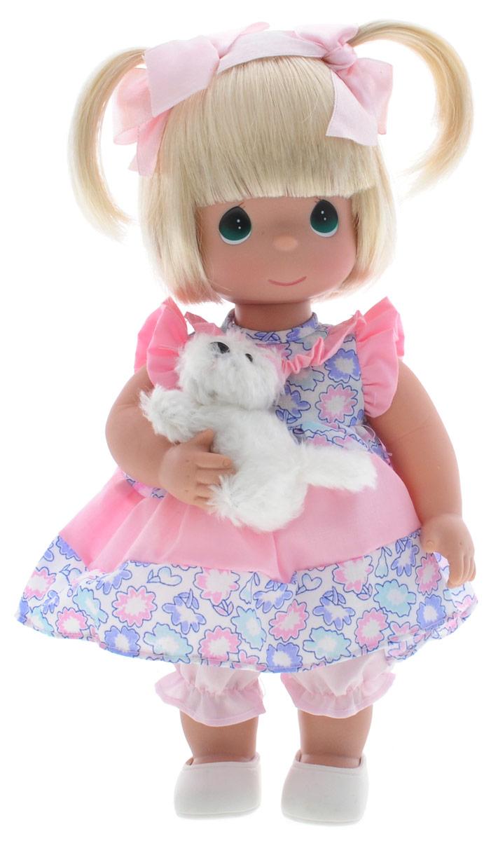 Precious Moments Кукла Друзья навеки4669Коллекция кукол Precious Moments ростом выше 30 см насчитывает на сегодняшний день более 600 видов. Куклы изготавливаются из качественного, безопасного материала и имеют пять базовых точек артикуляции. Каждый год в коллекцию добавляются все новые и новые модели. Каждая кукла имеет свой неповторимый образ и характер. Она может быть подарком на память о каком- либо событии в жизни. Куклы выполнены с любовью и нежностью, которую дарит нам известная волшебница - создатель кукол Линда Рик! Кукла Друзья навеки одета в легкое платье, украшенное цветочным принтом. Под платьем - розовые панталоны, а на ногах - белые ботиночки. Вся одежда у куклы съемная. У девочки большие глаза изумрудного цвета. В комплекте с куклой имеется мягкая игрушка в виде собачки. Игра с куклой разовьет в вашей малышке чувство ответственности и заботы. Порадуйте свою принцессу таким великолепным подарком!