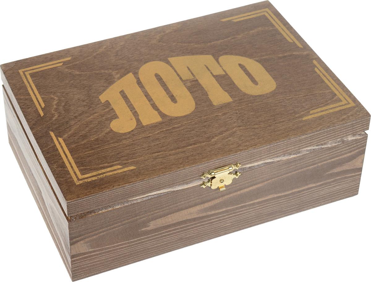 Игра настольная Русское лото в темной деревянной коробке, размер: 25х14,5х9,53006тЛото Bicycle предназначена для поднятия настроения в большой и веселой компании. Популярная, традиционно русская игра, пришедшая к нам из глубины веков, и по сей день остается одной из самых популярных настольных игр как для веселой, шумной компании, так и для вечера в семейном кругу. Как любая динамичная и азартная игра Русское Лото имеет множество вариантов. Можно играть просто на интерес, но можно и играть на, допустим, пуговицы. В начале игры каждый из участников ставит на кон несколько пуговиц на каждую карточку. Итак, варианты игры: Простое лото - победитель тот, кто первый закроет все числа на своих карточках; Короткое лото - победитель тот, кто первый закроет все числа любой одной строки; Три на Три - при заполнении кем-либо верхней строки все, кроме игрока, удваивают ставки на кону. При заполнении средней строки игрок забирает половину кона. Побеждает тот, кто первым закрывает нижнюю строку. Весь кон его. Ход игры: ведущий,...