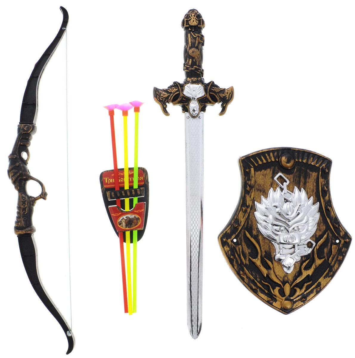 Играем вместе Набор оружия Три богатыря цвет черный светло-коричневый 7 предметовB417167-R1С набором оружия Играем вместе Три богатыря ваш ребенок почувствует себя настоящим защитником и сможет создать несколько игровых сцен средневековья, попробовав себя в роли рыцаря или богатыря. В набор входят щит, меч, лук, футляр для стрел и три разноцветные стрелы. Все элементы выполнены из прочного и безопасного для ребенка материала. Порадуйте своего ребенка таким замечательным подарком!