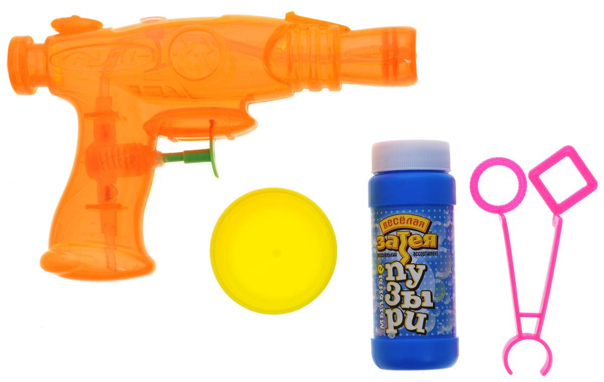 Веселая затея Набор для пускания мыльных пузырей цвет оранжевый1504-0027Классические мыльные пузыри - забава интересная. Вы сможете порадовать своих детей и испытать приятные эмоции сами! В комплект набора Веселая затея входят: емкость с мыльным раствором, баночка для мыльного раствора, фигурные палочки для пускания мыльных пузырей, водный пистолет.