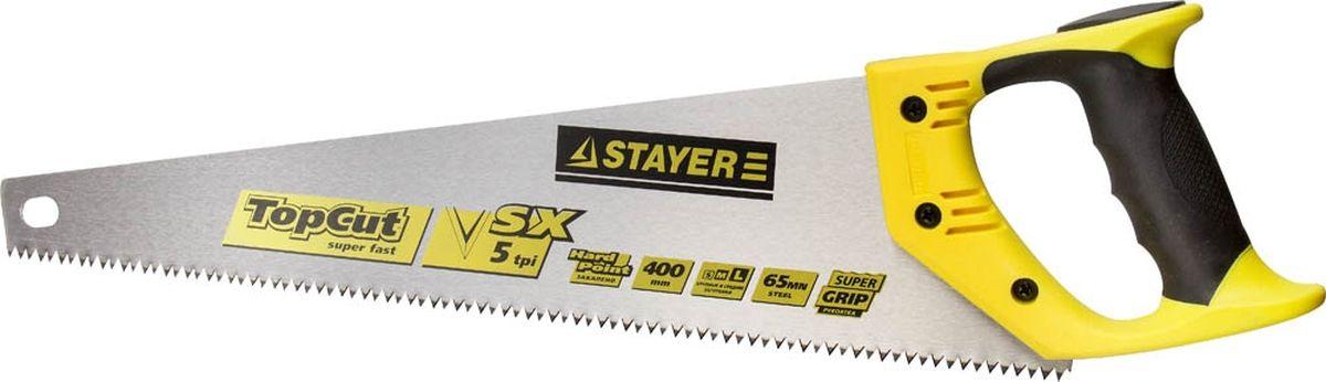 Пила Stayer Master по дереву, двухкомпонентная рукоятка, закаленный зуб, 5 TPI (5 мм), 400 мм1506-40_z01
