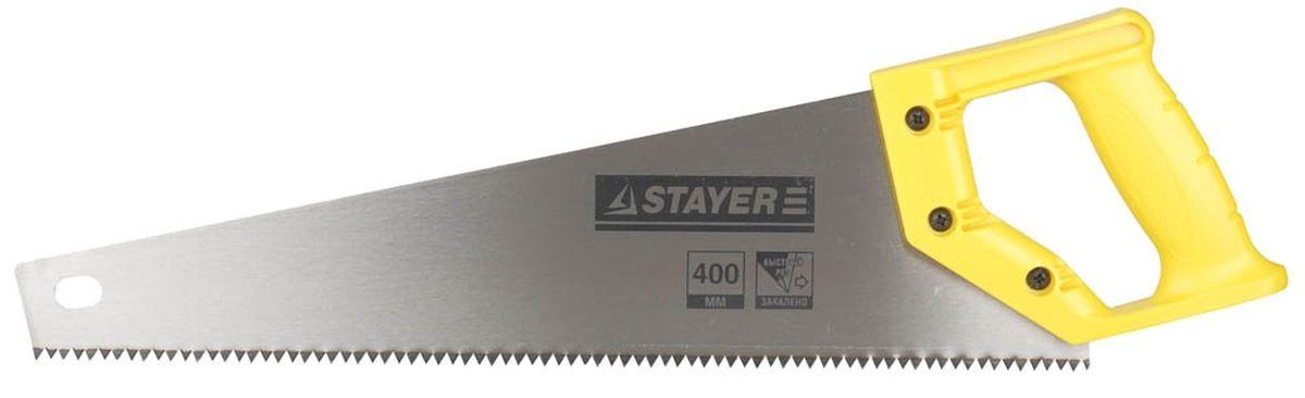 Ножовка Stayer Standard по дереву, пластиковая ручка, универсальный закаленный зуб, 5 TPI (5 мм), 400 мм15061-40_z01