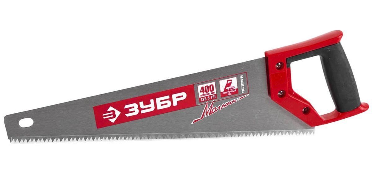 Ножовка Зубр Мастер Молния по дереву, крупный зуб, двухкомпонентная ручка, шаг зуба 5 мм, 400 мм15075-40_z01