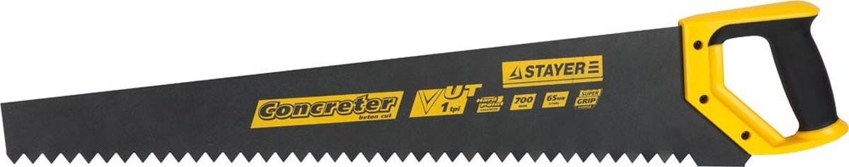 Ножовка Stayer Master по пенобетону, закаленный зуб, двухкомпонентная рукоятка, 1 TPI, 700 мм15098