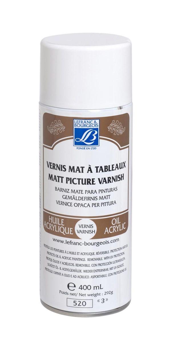 Лак акриловый Lefranc & Bourgeois матовый, анти-UV аэрозоль, 400 мл. LF300214LF300214