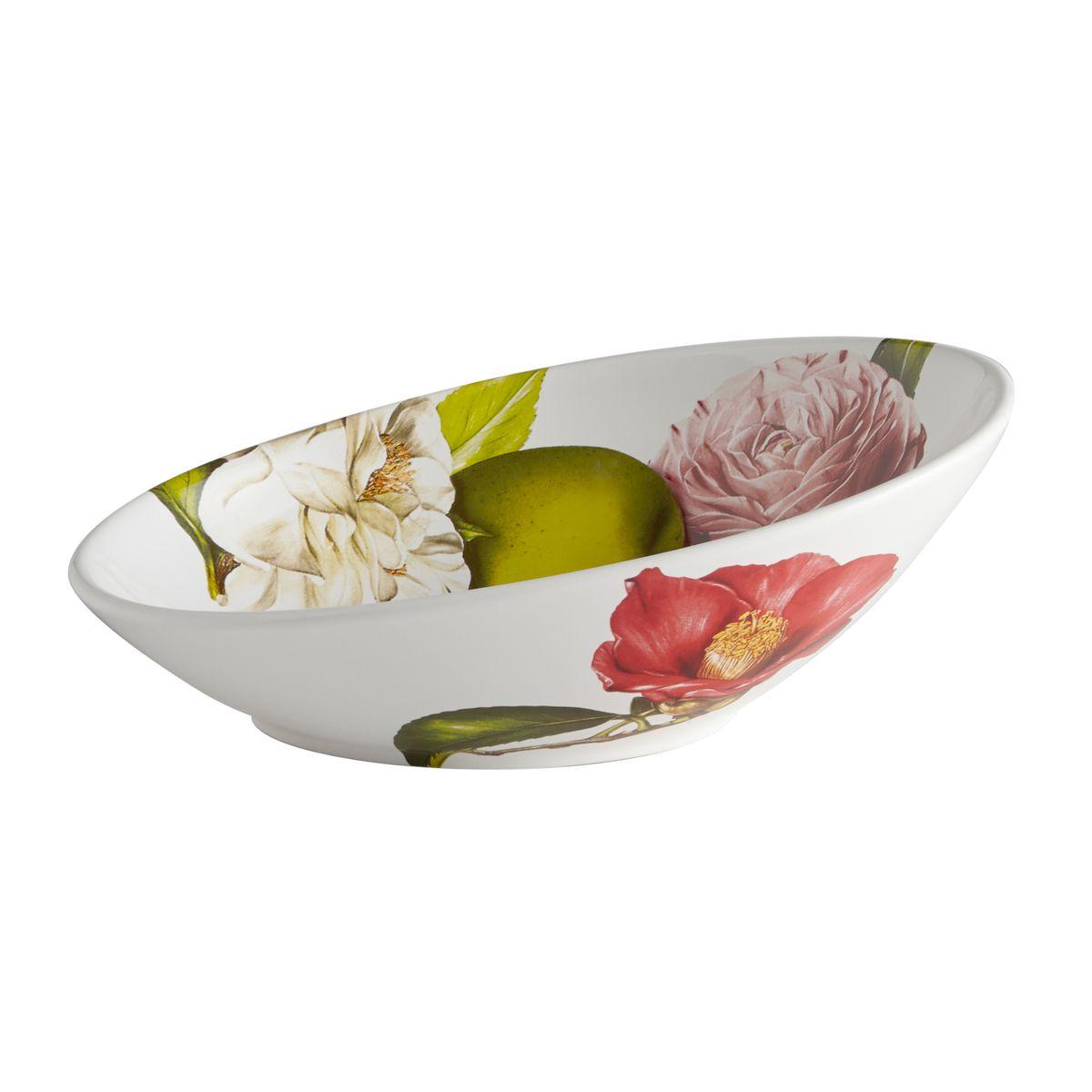 Салатник овальный Яблоки и камелии. CV2-48239-ALCV2-48239-ALКерамическая посуда итальянской фабрики «Ceramiche Viva» известна не только своим превосходным качеством, но и удивительными, неповторимыми дизайнами, отличающими ее от любой другой керамической посуды.Помимо внешней привлекательности посуда «Ceramiche Viva» обладает и прекрасными практическими свойствами: посуду «Ceramiche Viva» можно мыть в посудомоечной машине и использовать в микроволновой печи. Не разрешается применять при мытье посуды абразивные порошки. Поверхность изделий покрыта высококачественной глазурью, не содержащей свинца.