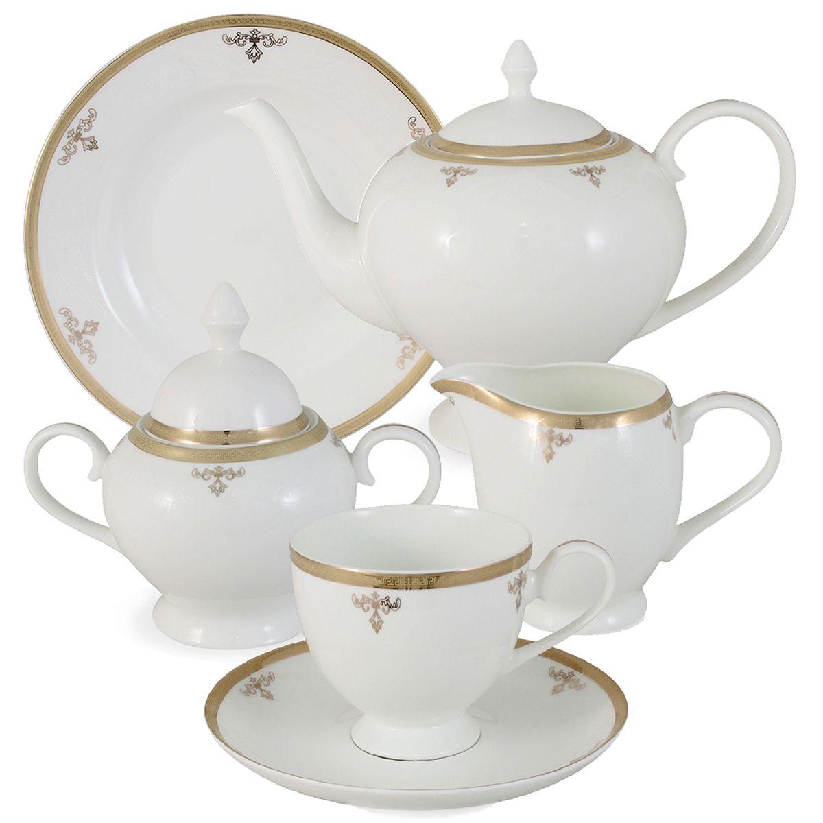 Чайный сервиз Ампир 21 предмет на 6 персон. E5-09-24/21-ALE5-09-24/21-ALЧайная и обеденная столовая посуда торговой марки Emerald произведена из высококачественного костяного фарфора. Благодаря высокому качеству исполнения, разнообразным декорам и оптимальному соотношению цена – качество, посуда Emerald завоевала огромную популярность у покупателей и пользуется неизменно высоким спросом. Поверхность изделий покрыта превосходной сверкающей глазурью, не содержащей свинца.