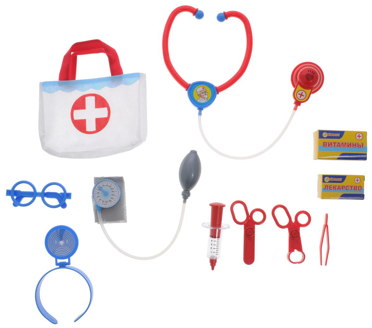 Играем вместе Игровой набор Доктор Айболит 13 предметовJ210-H34004-RИгровой набор Играем вместе Доктор Айболит включает в себя полный набор необходимых аксессуаров для маленького врача, которые создадут увлекательную атмосферу игры. В комплект входят стетоскоп, шприц, ножницы, зеркало с креплением для головы и другие медицинские инструменты - всего 13 элементов набора. Также в набор входит сумочка врача, в которую можно положить все необходимое. С этим замечательным набором ребенок сможет почувствовать себя квалифицированным специалистом. Теперь все игрушки будут совершенно здоровы! Рекомендуется докупить 2 батарейки типа LR44 (товар комплектуется демонстрационными).