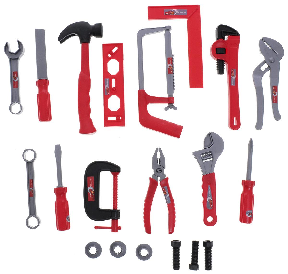 Играем вместе Набор инструментов Тачки 20 предметовHWA649309Набор инструментов Играем вместе Тачки состоит из 20 предметов и станет прекрасным подарком для юного мастера. В набор входит пила, 2 гаечных ключа, отвертка, 2 разводных ключа, плоскогубцы, переставные клещи, струбцина, 2 отвертки, молоток, угольник, уровень, напильник, скобяные изделия. Набор инструментов поможет с ранних лет приучить ребенка к работе с инструментом и поспособствует воспитанию в нем настоящего мужчины в будущем.