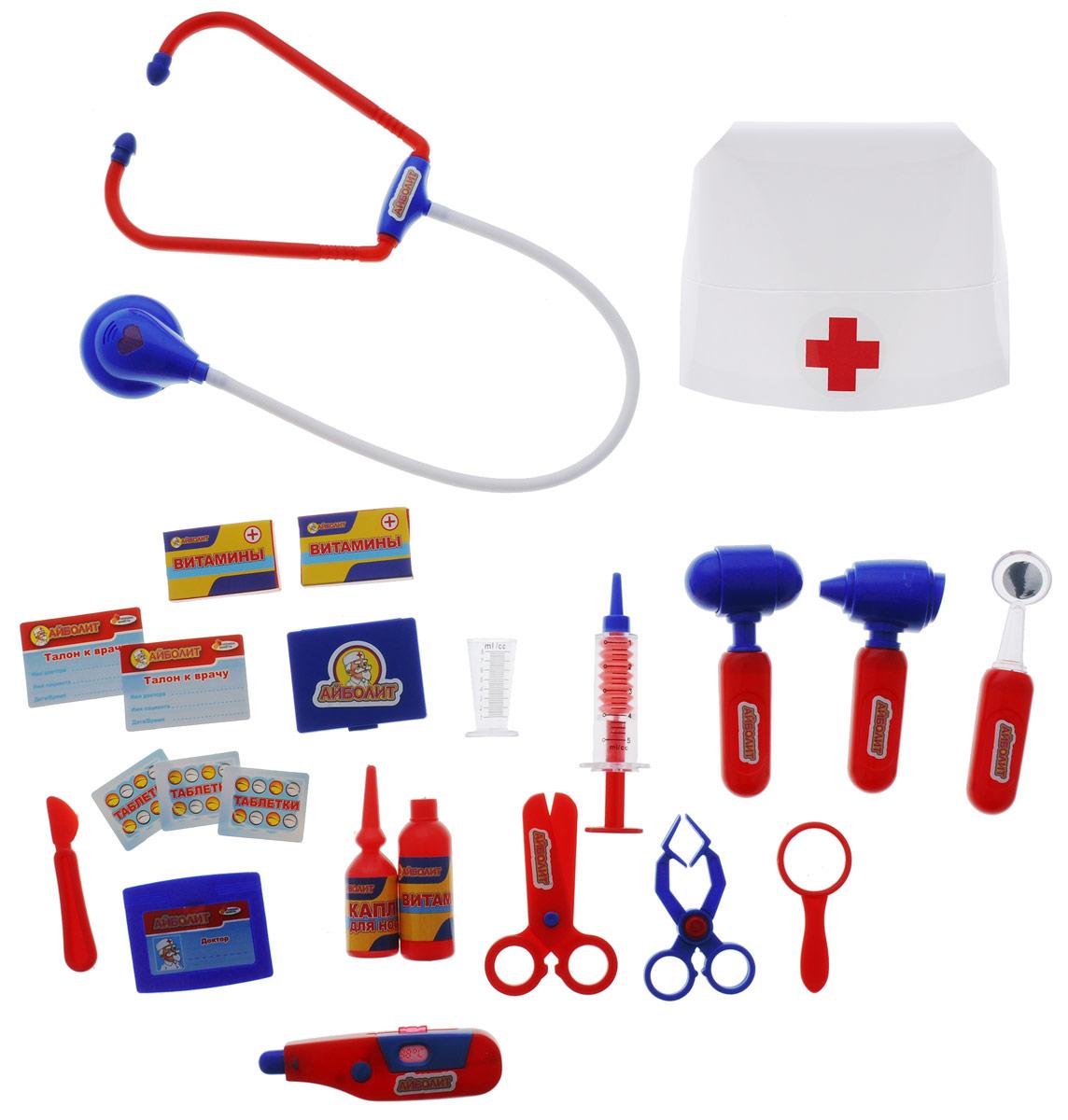 Играем вместе Игровой набор Доктор Айболит 19 предметовA373-H34024-RИгровой набор Играем вместе Доктор Айболит включает в себя полный набор необходимых аксессуаров для маленького врача, которые создадут увлекательную атмосферу игры. В комплект входят стетоскоп, шприц, медицинский молоточек, капли, витамины, градусник и другие медицинские инструменты - всего 19 элементов набора. Также в набор входит шапочка врача. С этим замечательным набором ребенок сможет почувствовать себя квалифицированным специалистом. Теперь все игрушки будут совершенно здоровы!