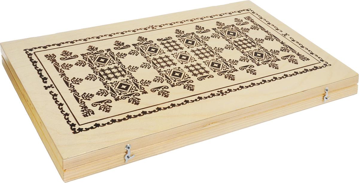 Настольная игра Нарды большие размер 50 х 25 х 3,4 смУТ-00000211Настольная игра Нарды предназначена для развлечения детей старшего школьного возраста и взрослых. Игровое поле представляет собой четыре шестерки полукругов, выполненных в двух исполнениях: вставные рейки полукругов, которые необходимо установить перед началом игры вдоль боковых коротких сторон коробки; полукруги выполнены вместе с коробкой. Нижняя левая четверть поля - дом белых. Верхняя левая четверть поля - дом черных. Подробные правила игры входят в набор. Эта увлекательная игра поможет вам развить логическое мышление и позволит интересно и с пользой провести время.