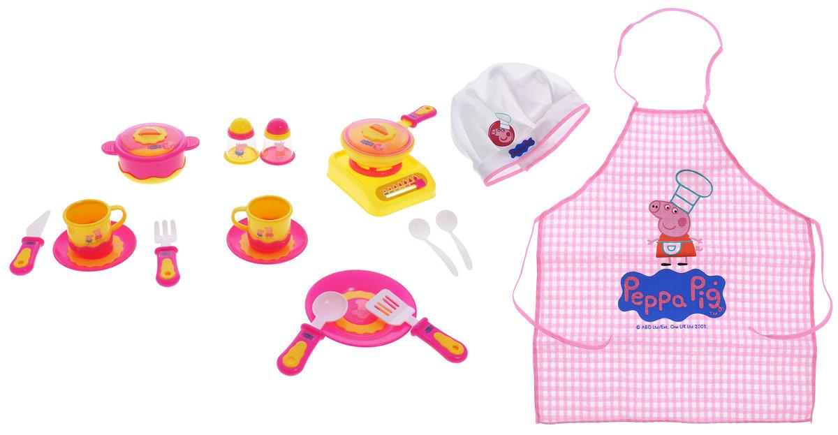 Peppa Pig Игрушечный набор посуды Пеппа-повар29701С игрушечным набором посуды Peppa Pig Пеппа-повар юная любительница кулинарии почувствует себя настоящим шеф-поваром. К ее услугам 20 предметов: 2 чашки, 2 блюдца, тарелка, мини-сковорода с крышкой, кастрюля с крышкой, плитка, солонка, перечница, 2 чайные ложки, лопатка, вилка, столовый нож, столовая ложка, фартук с завязывающимися ручками и лямкой для шеи, колпак с застежкой-липучкой. Словом, в наборе имеется все необходимое для приготовления и подачи блюд друзьям по игре. Посуда изготовлена из безопасного пластика, а фартук и колпак - из качественного текстиля. Все предметы декорированы изображениями Пеппы-повара и ее братика Джорджа.