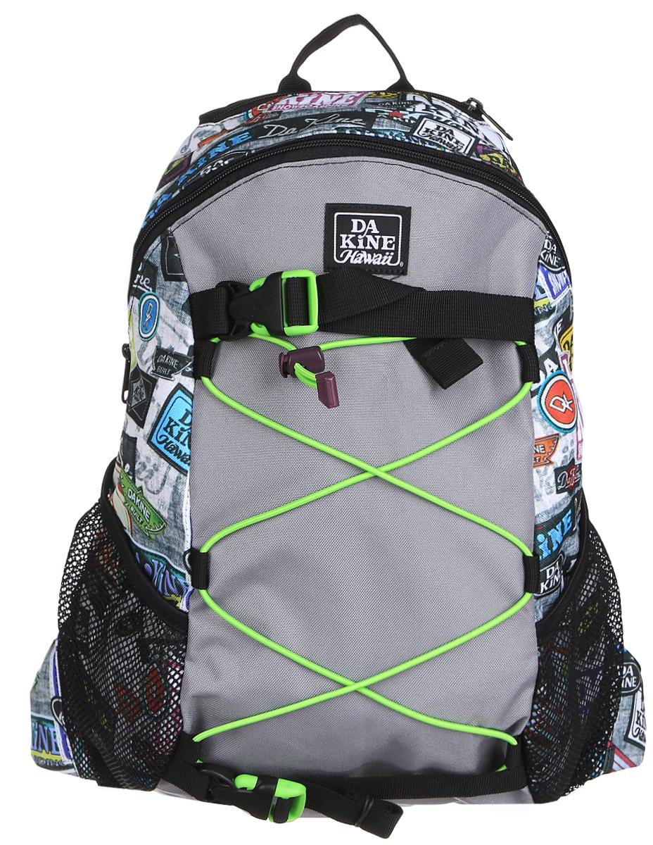 Рюкзак Dakine DK WONDER 15L EQUIP2RIP. 0813006000116691 08130060Городской однообъемный рюкзак. Лямки для переноски скейтборда, резиновый шнур для закрепления вещей снаружи. Два кармана побокам из сетки.