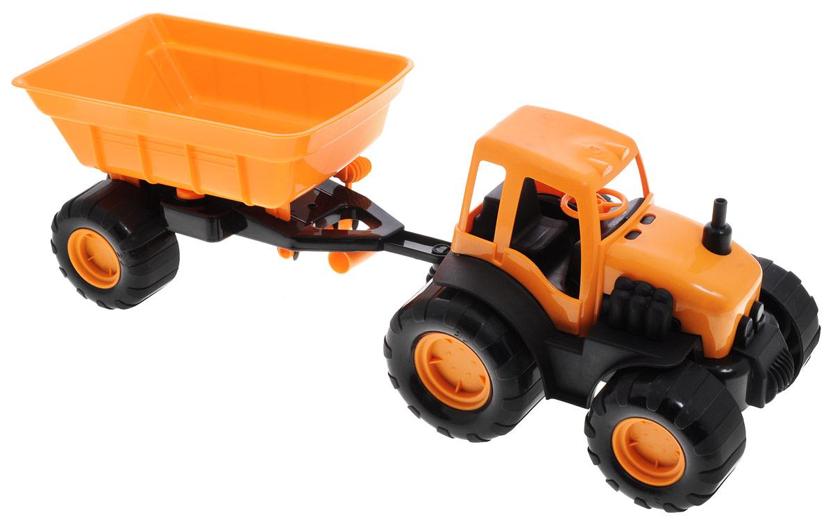Zebratoys Трактор с прицепом15-10174Трактор с прицепом Zebratoys, изготовленный из прочного и безопасного материала, станет любимой игрушкой вашего малыша. Игрушка представляет собой модель трактора оранжевого и черного цветов. Прицеп может с легкостью отсоединяться от трактора. Трактор отлично подойдет для игр ребенка дома, или на свежем воздухе. Ребристые колеса трактора обеспечивают прочное сцепление с дорогой, не давая скользить технике по полу. Уважаемые клиенты! Обращаем ваше внимание на ассортимент в цвете товара. Поставка возможна в одном из вариантов нижеприведенных цветов, в зависимости от наличия на складе.