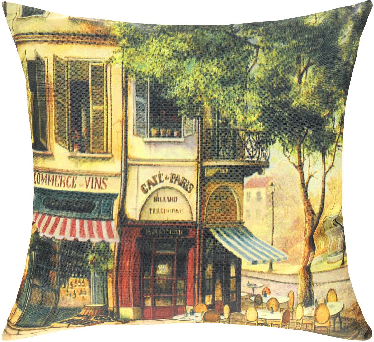 Подушка декоративная GiftnHome Парижское кафе, 40 х 40 cмPLW-OXF-40 CafeДекоративная подушка GiftnHome Парижское кафе - это яркое украшение вашего дома. Чехол выполнен из ткани Оксфорд и украшен красочным изображением. Внутренний наполнитель подушки - холлофайбер. Чехол застегивается на молнию. Красивая подушка создаст в доме уют и станет прекрасным элементом декора.