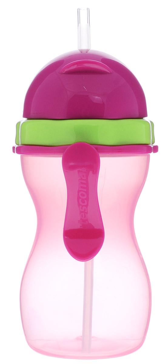 Tescoma Бутылочка-поильник с трубочкой от 12 месяцев цвет розовый 300 мл668172Бутылочка-поильник Tescoma разработана специально для малышей от 1 года. Бутылочка выполнена из высококачественного нетоксичного пластика. Гибкая силиконовая трубочка предназначена для комфортного и безопасного перевода ребенка на кормление без использования соски. Поильник оснащен специальной сдвигаемой крышечкой, которая обеспечивает защиту от микробов. Мерная шкала на корпусе поможет точно определить количество жидкости в поильнике. Благодаря легкому эргономичному дизайну бутылочку-поильник удобно держать как взрослому, так и ребенку, а пластиковая клипса позволит легко и надежно прикрепить бутылочку к коляске, сумке или одежде. Не содержит бисфенол А. Подходит для холодильника и микроволновой печи (без крышки). Контейнер можно мыть в посудомоечной машине, крышку, трубочку и уплотнение вымойте под проточной водой и дайте высохнуть.
