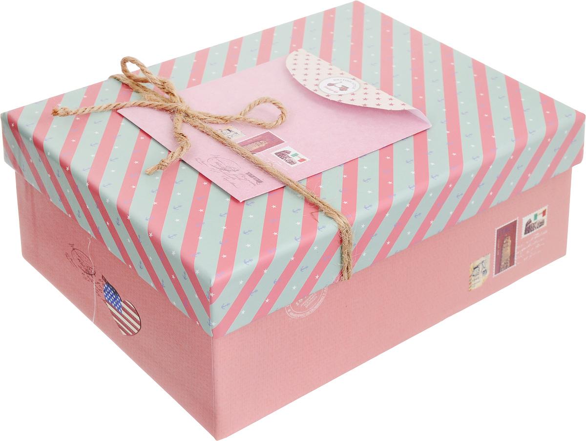 Коробка подарочная Packing Symphony Английский стиль, цвет: розовый, бирюзовый, 20 х 14 х 8,5 см80036901_розовыйКартонная коробка Packing Symphony Английский стиль - это один из самых оригинальных вариантов упаковки подарков. Любой, даже самый нестандартный подарок упакованный в такую коробку, создаст момент легкой интриги, а плотный картон сохранит содержимое в первоначальном виде. Оригинальный дизайн самой коробки будет долго напоминать владельцу о трогательных моментах получения подарка.