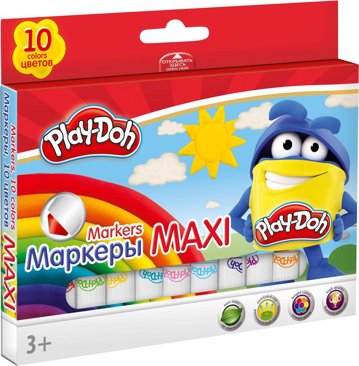 Play Doh Набор цветных маркеров Maxi 10 штPDDB-US1-7MB-10Набор маркеров Play-Doh Maxi, предназначенный специально для рисования и закрашивания, обязательно порадует юных художников и поможет им создать яркие и неповторимые картинки. Корпус маркеров изготовлен из высококачественного нетоксичного пластика, а вентилируемый колпачок увеличивает срок службы чернил и предотвращает их преждевременное высыхание. Эргономичная форма корпуса увеличенной толщины обеспечивает комфортное и легкое рисование. Набор включает в себя 10 маркеров ярких насыщенных цветов.