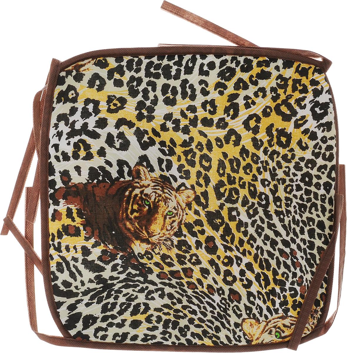 Подушка на стул Eva Леопард, тигр, цвет: коричневый, желтый, 34 х 34 смЕ06Подушка на стул Eva Леопард, тигр, выполненная из хлопка с наполнителем из поролона, легко крепится на стул с помощью завязок. Рекомендации по уходу: Деликатная стирка при температуре воды до 30°С. Отбеливание, барабанная сушка, химчистка запрещены. Рекомендуется глажка при температуре подошвы утюга до 150°С. Размер подушки: 34 х 34 х 1 см.