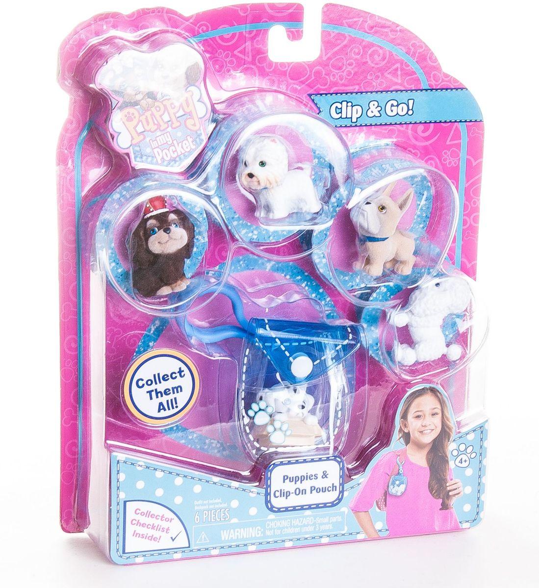 Puppy in my pocket Игрушка брелок-сумочка голубая с щенками48180-TГолубая мини-сумочка на креплении карабин, закрывается на кнопку + 5 флокированных фигурок щенков