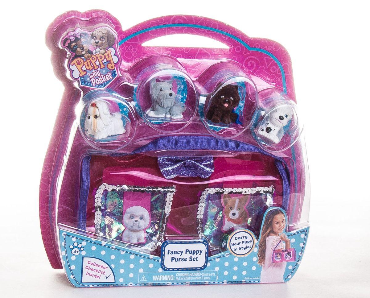 Puppy in my pocket Игрушка сумочка с щенками48200Сумочка на застежке липучке с 2мя кармашками + 4 флокированные фигурки щенков