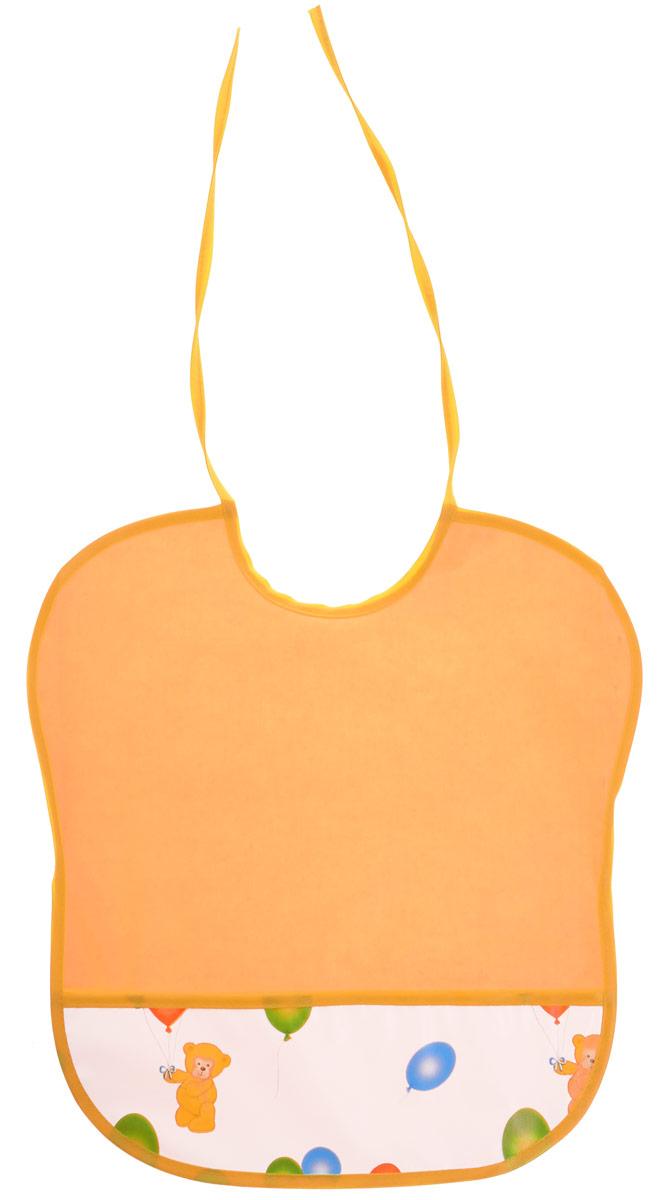 Колорит Нагрудник цвет оранжевый 33 х 33 см0083_оранжевыйНагрудник Колорит изготовлен из клеенки подкладной с ПВХ покрытием. Предохраняет одежду малыша от загрязнений во время кормления. Оснащен нагрудник удобным карманом. Предназначен для многоразового использования, не промокает. Благодаря завязкам вы сможете легко контролировать длину изделия и регулировать размер горловины. Перед началом использования рекомендуется протереть влажной губкой и проветрить в естественных условиях.