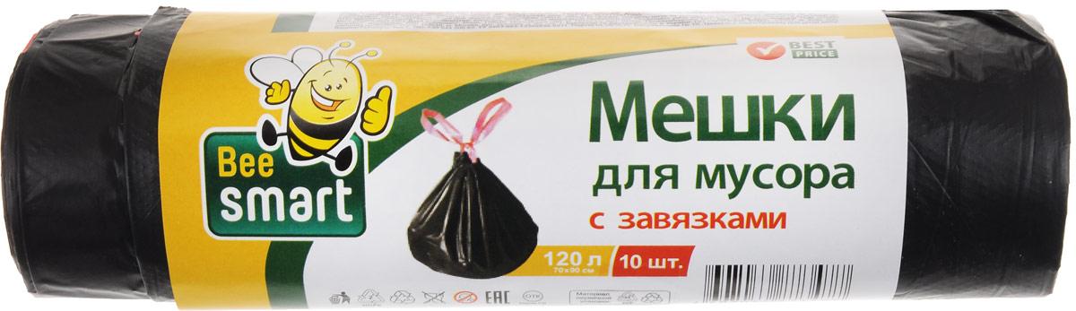 Мешки для мусора Beesmart, с завязками, 120 л, 10 шт402048/402040/402039Мешки Beesmart, выполненные из высокопрочного и эластичного полиэтилена, обеспечат чистоту и гигиену в квартире. Они удобны для сбора и утилизации мусора, занимают мало места, практичны в использовании. Широко применяются в быту и на производстве. Благодаря прочным завязкам изделия удобны в переноске и предотвращают распространение неприятного запаха. Размер мешка: 69,5 х 45,5 см. Количество: 10 шт.