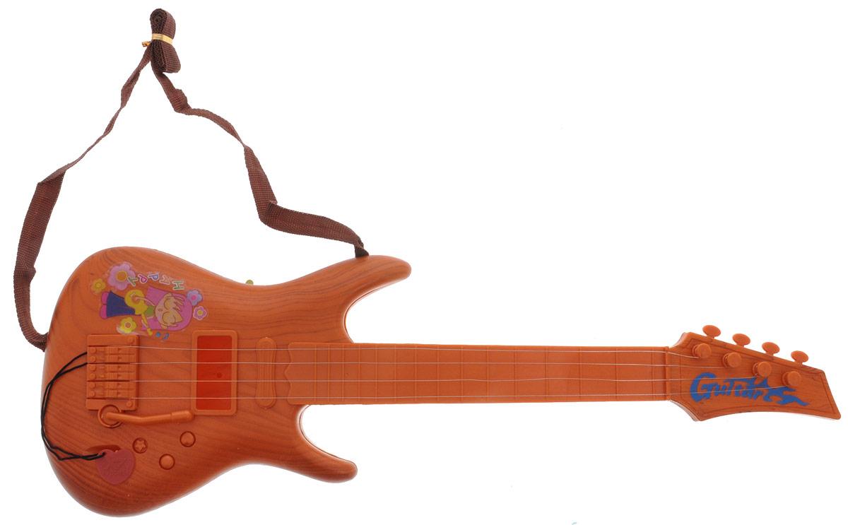 Shantou Гитара цвет светло-коричневыйD061-H29019_светло-коричневыйГитара Shantou станет отличным подарком для маленьких музыкантов! Дети оценят ее стильный дизайн. Эта гитара в точности повторяет детали настоящей, она поможет малышам почувствовать себя настоящим музыкантом. Гитара имеет 4 струны. В процессе игры у малыша развивается музыкальный слух, воображение, он учится различать звуки, ноты и знакомится с миром музыки. Игрушка изготовлена из прочного экологически чистого пластика, безопасна для здоровья ребенка.