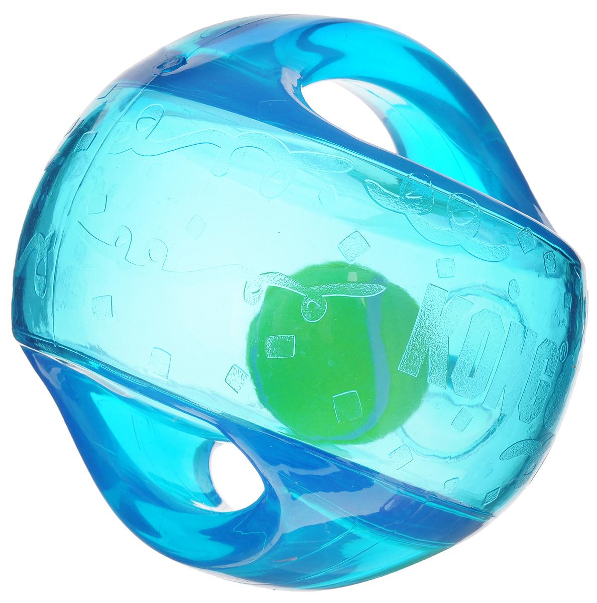 Игрушка для собак Kong Мячик, с пищалкой, цвет: прозрачный, синий, 12 х 12 х 12 смTMB2EИгрушка для собак Kong Мячик, выполненная из высококачественного каучука, представляет собой мяч 2 в 1. Теннисный мяч, расположенный внутри, гремит и будет привлекать внимание вашего питомца, побуждая достать его. Просто потрясите игрушку. Удобные ручки служат для поднятия. Также изделие оснащено пищалкой. С такой игрушкой вы сможете играть в захватывающие и активные игры с вашей собакой. Она прекрасно подходит для животных среднего и крупного размера, с сильными челюстями и для использования в качестве дрессировочного предмета.