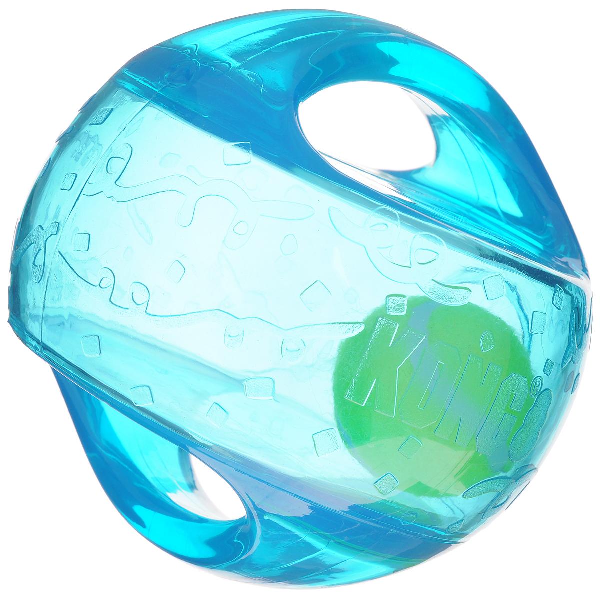 Игрушка для собак Kong Мячик L/XL, с пищалкой, цвет: прозрачный, бирюзовый, 18 х 18 х 18 смTMB1EИгрушка для собак Kong Мячик L/XL, выполненная из высококачественного каучука, представляет собой мяч 2 в 1. Теннисный мяч, расположенный внутри, гремит и будет привлекать внимание вашего питомца, побуждая достать его. Просто потрясите игрушку. Удобные ручки служат для поднятия. Также изделие оснащено пищалкой. С такой игрушкой вы сможете играть в захватывающие и активные игры с вашей собакой. Она прекрасно подходит для животных крупного размера, с сильными челюстями и для использования в качестве дрессировочного предмета.