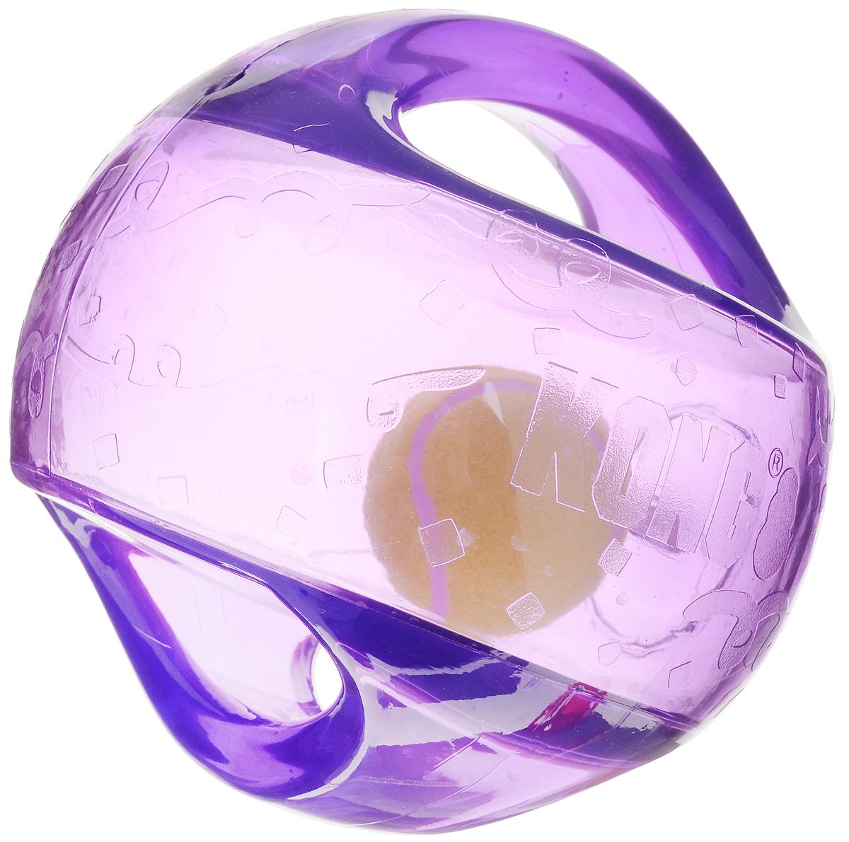 Игрушка для собак Kong Мячик L/XL, с пищалкой, цвет: прозрачный, фиолетовый, 18 х 18 х 18 смTMB1E_фиолетовыйИгрушка для собак Kong Мячик L/XL, выполненная из высококачественного каучука, представляет собой мяч 2 в 1. Теннисный мяч, расположенный внутри, гремит и будет привлекать внимание вашего питомца, побуждая достать его. Просто потрясите игрушку. Удобные ручки служат для поднятия. Также изделие оснащено пищалкой. С такой игрушкой вы сможете играть в захватывающие и активные игры с вашей собакой. Она прекрасно подходит для животных крупного размера, с сильными челюстями и для использования в качестве дрессировочного предмета.