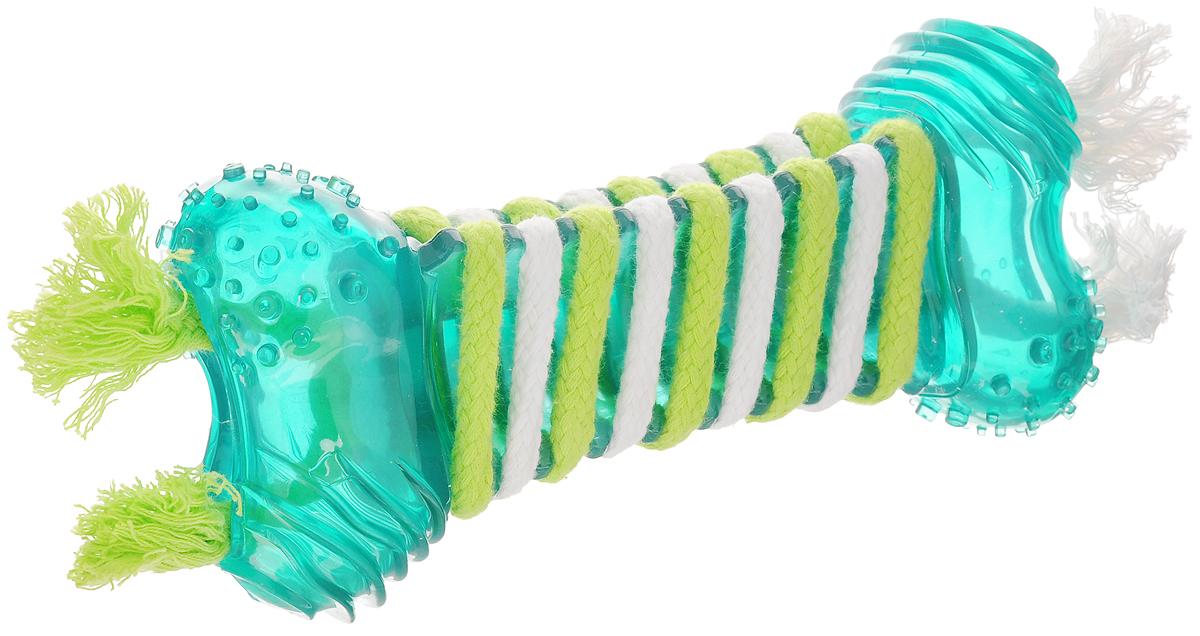 Игрушка для собак Dogit Floss, большая, для ухода за зубами, с мятным запахом, 26 х 9 х 5 см72912Игрушка для собак Dogit Floss выполнена из высококачественной синтетической резины в виде косточки и оснащена текстильными шнурками с мятным запахом. Подходит для собак крупных пород. Изделие предназначено для чистки и ухода за зубами. Игрушка предотвращает образование зубного камня и воспаление десен. Такая игрушка привлечет внимание вашего любимца и не оставит его равнодушным.