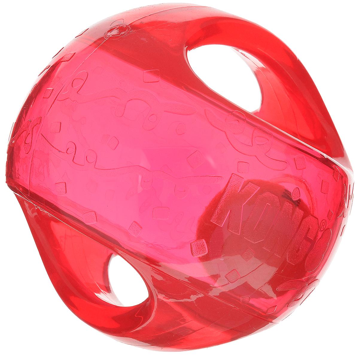 Игрушка для собак Kong Мячик, с пищалкой, цвет: прозрачный, красный, 12 х 12 х 12 смTMB2E_красныйИгрушка для собак Kong Мячик, выполненная из высококачественного каучука, представляет собой мяч 2 в 1. Теннисный мяч, расположенный внутри, гремит и будет привлекать внимание вашего питомца, побуждая достать его. Просто потрясите игрушку. Удобные ручки служат для поднятия. Также изделие оснащено пищалкой. С такой игрушкой вы сможете играть в захватывающие и активные игры с вашей собакой. Она прекрасно подходит для животных среднего и крупного размера, с сильными челюстями и для использования в качестве дрессировочного предмета.
