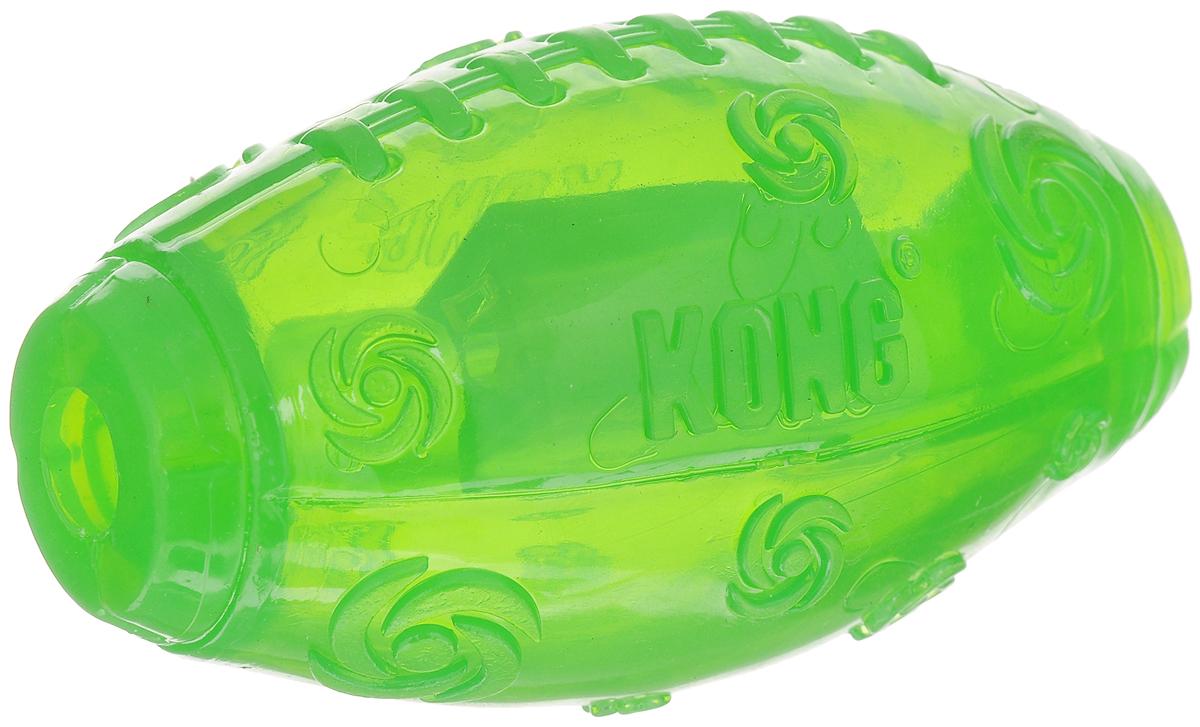 Игрушка для собак Kong Мячик регби, средняя, с пищалкой, цвет: зеленый, 10 х 5 х 5 смPSF2E_зеленыйИгрушка Kong Мячик регби среднего размера выполнена из высококачественной синтетической резины в виде мяча для регби. Пищалка спрятана таким образом, чтобы собака не могла вынуть ее. Такая игрушка прекрасно отскакивает от земли.