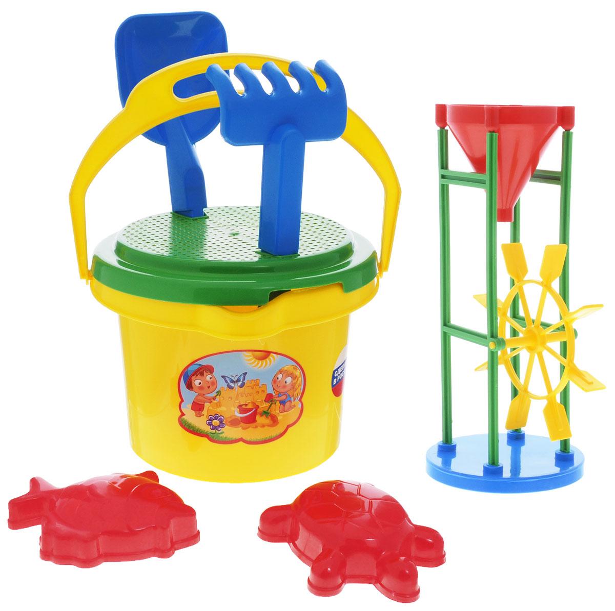 Zebratoys Набор песочный Солнышко цвет ведра желтый 7 предметов15-5601-4Набор для игры с песком Zebratoys Солнышко привлечет внимание вашего малыша и не позволит ему скучать. Набор предназначен для игры в песочнице, на пляже или во дворе загородного дома. Ударопрочный пластик и качественные красители надолго сохранят внешний вид игрушки и будут радовать ваших детей. В набор входит ведерко с ситом, совок, грабли, две формочк, песочная лестница. С таким набором игры на свежем воздухе принесут вашему малышу одно удовольствие! Порадуйте его таким замечательным подарком!