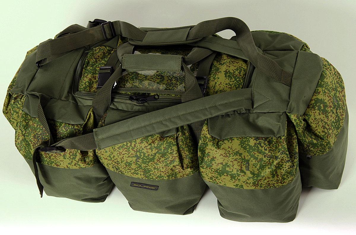 Сумка-рюкзак Solaris Экспедиционная, цвет : оливковый, 120 л. S5205S5205Очень объёмная дорожная сумка-рюкзак SOLARIS предназначена для экспедиций с повышенной автономностью, серьёзных охотничьих туров, больших автопутешествий и т.п. Во многих случаях сумка позволяет упаковать все необходимые вещи и не применять другую поклажу. Сумка имеет две дополнительные плечевые лямки и её удобно использовать в качестве рюкзака. Неиспользуемые плечевые лямки можно зафиксировать при помощи ремней с пряжками (на клапане центрального отделения). Сумку также можно переносить на одном плече с помощью основной плечевой лямки. Сумка имеет 9 отделений: основное отделение и восемь больших боковых карманов. Кроме того, на клапане центрального отделения имеется прозрачный карман для списка вещей. Боковые карманы пронумерованы по кругу цифрами: 1,2,3,4,5,6,7,8, что облегчает поиск вещей. Молнии на боковых карманах дополнительно защищены от пыли и влаги тканевым кантом-бортиком. Общий объём сумки 120 литров, размеры 950х450х320 мм. Сумка выполнена из высококачественной...
