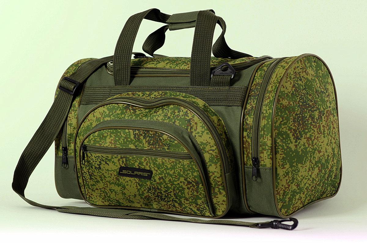 Сумка дорожная Solaris, цвет: оливковый, 39 л. S5102S5102Компактная дорожная сумка SOLARIS спортивного дизайна, отлично подойдёт для поездок на охоту и рыбалку, пикников, командировок, занятий спортом, автопутешествий. Сумка имеет 5 отделений: основное отделение, два больших торцевых кармана, два накладных боковых кармана. Общий объём сумки 39 литров, размеры 520х260х280 мм. Сумка выполнена из высококачественной износостойкой непромокаемой ткани ПВХ, что обеспечивает отличную защиту вещей от дождя, снега и во влажных помещениях. Используется лёгкая и прочная пластиковая фурнитура (материал - ацеталь).