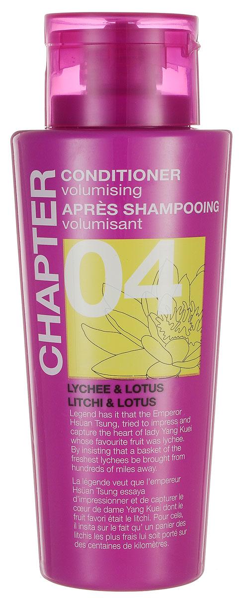 Chapter Кондиционер для волос Chapter с ароматом личи и лотуса, 400 мл769687Кондиционер с ароматом личи и лотоса, придающий объем, имеет нежную и легкую текстуру, которая питает и смягчает волосы, восстанавливая здоровый блеск и сияние. Не утяжеляет волосы, помогает расчесать спутанные пряди. Не содержит парабенов, силиконов и красителей.