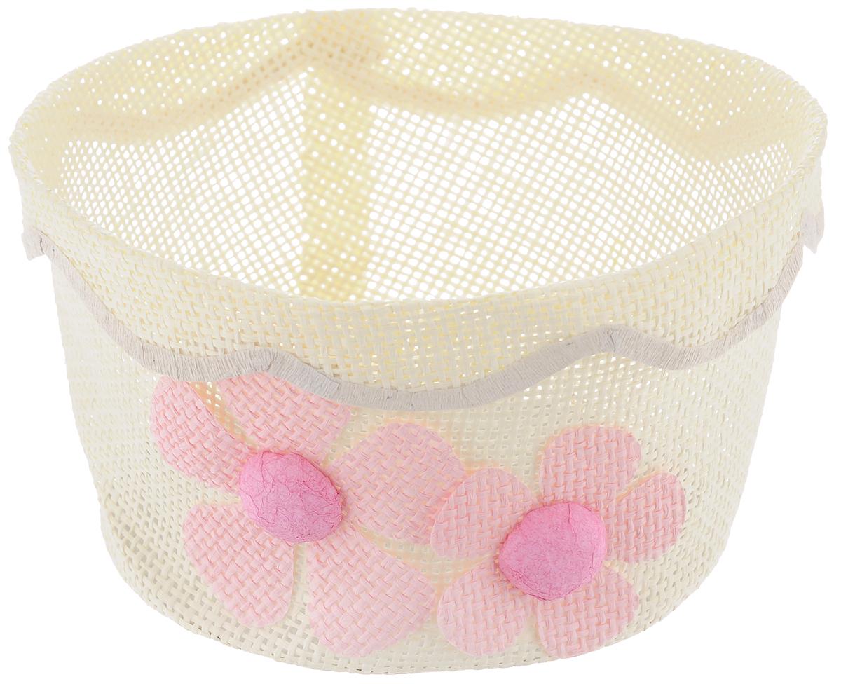 Корзина декоративная Home Queen Незабудки, цвет: бежевый, розовый, диаметр 17,5 см64329_6Декоративная корзинка Home Queen Незабудки прекрасно подойдет для хранения пасхальных яиц, а также различных мелочей. Корзинка с цветочным декором выполнена из прочной бумаги, дно изготовлено из плотного картона. Такая корзинка украсит интерьер дома к Пасхе, внесет частичку тепла и веселья в ваш дом.