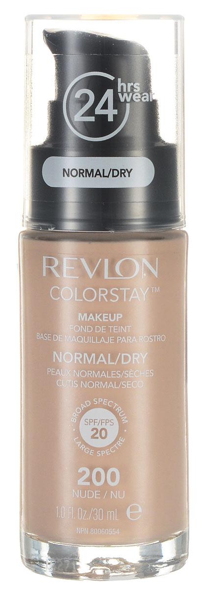 Revlon Тональный Крем для Норм-Сух Кожи Colorstay Makeup For Normal-Dry Skin Nude 200 30 мл7221553004Colorstay Make Up For Normal / Dry Skin - тональный крем с удивительно легкой текстурой идеально выравнивает тон и рельеф кожи, обеспечивая ей при этом должный уровень увлажнения. Colorstay дарит коже приятную матовость, сохраняет макияж безупречным надолго. Новая технология поддерживает баланс кожи, обеспечивая свежий и естественный вид. Продукт номер 1 по стойкости, обеспечивает идеальное покрытие в течение 24 часов без повторного нанесения!С SPF фактором. Предназначен для сухой и нормальной кожи.