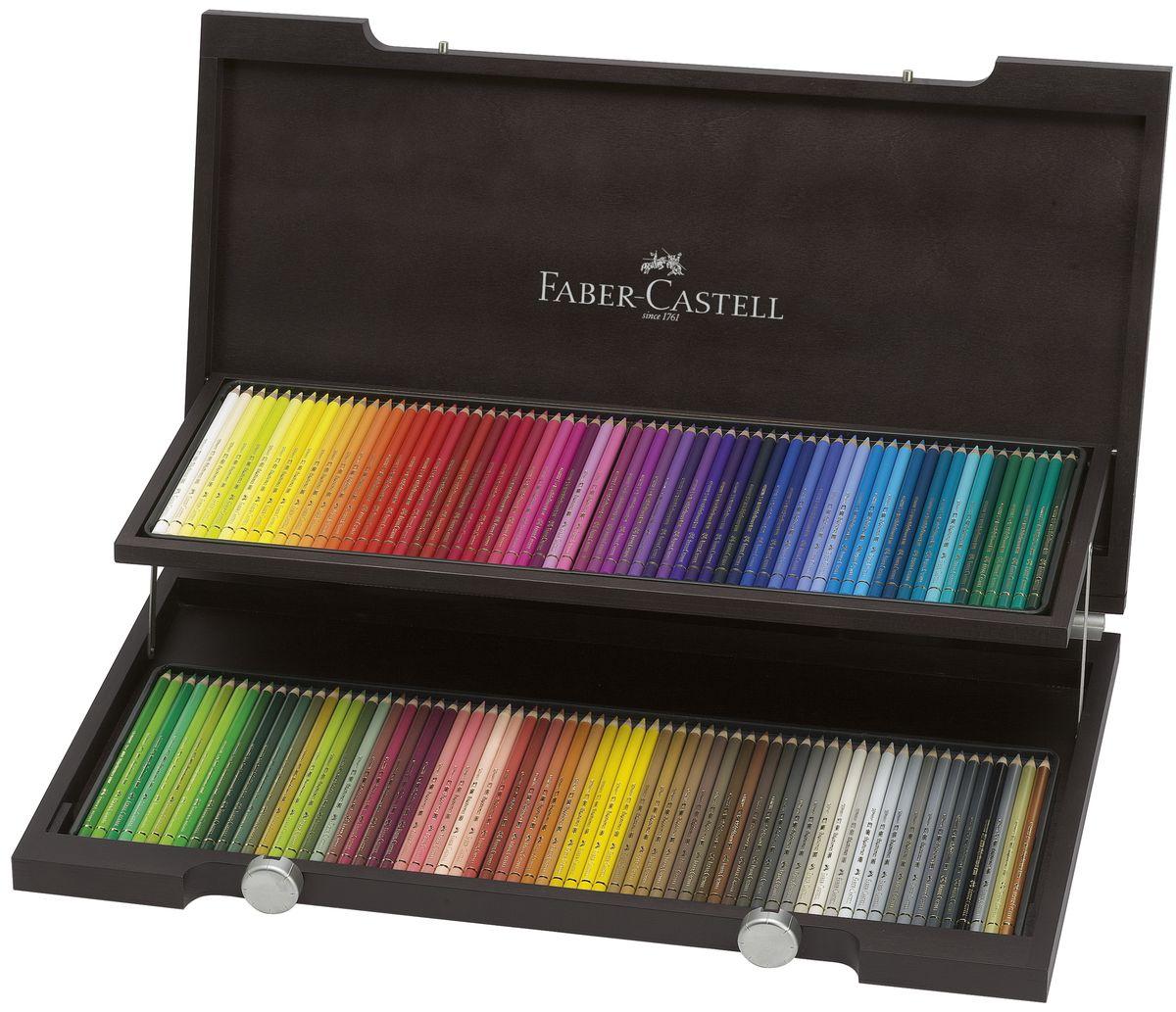 Faber-Castell Художественный набор с цветными карандашами POLYCHROMOS набор цветов в деревянном пенале 120 шт110013цветные карандаши наивысшего качества • высокое содержание очень качественных пигментов гарантирует устойчивость к воздействию света и интенсивность • грифель толщиной 3,8 мм • гладкий грифель на основе воска, водоустойчив, не размазывается