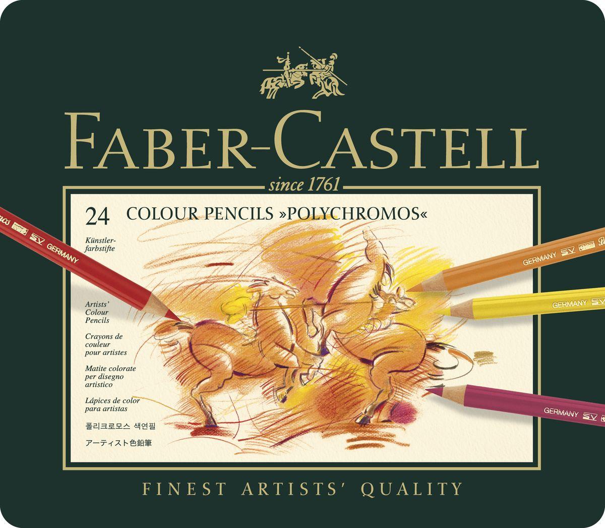 Faber-Castell Цветные карандаши Polychromos 24 цвета110024Цветные карандаши Faber-Castell Polychromos станут незаменимым инструментом для начинающих и профессиональных художников. В набор входят 24 карандаша разных цветов. Особенности карандашей: высокое содержание очень качественных пигментов гарантирует устойчивость к воздействию света и интенсивность; грифель толщиной 3,8 мм; гладкий грифель на основе воска водоустойчив, не размазывается. Набор цветных карандашей - это практичный художественный инструмент, который поможет вам в создании самых выразительных произведений. Карандаши упакованы в металлический пенал, благодаря чему их удобно хранить.