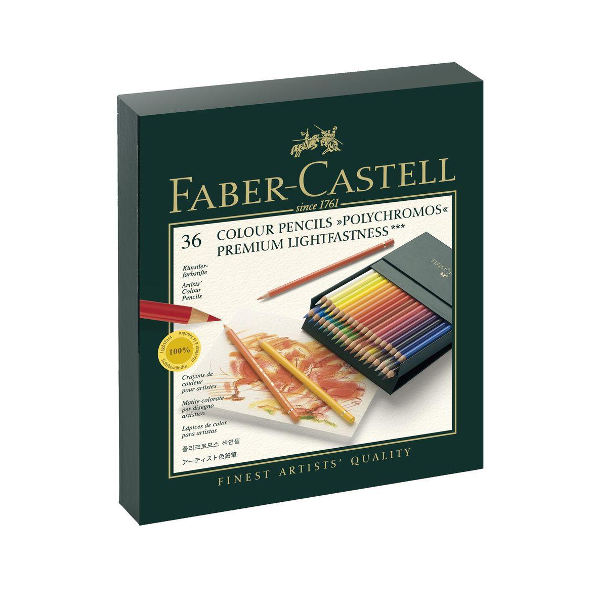 Faber-Castell Цветные карандаши POLYCHROMOS набор цветов в студийной (кожзам) коробке 36 шт110038цветные карандаши наивысшего качества • высокое содержание очень качественных пигментов гарантирует устойчивость к воздействию света и интенсивность • грифель толщиной 3,8 мм • гладкий грифель на основе воска, водоустойчив, не размазывается