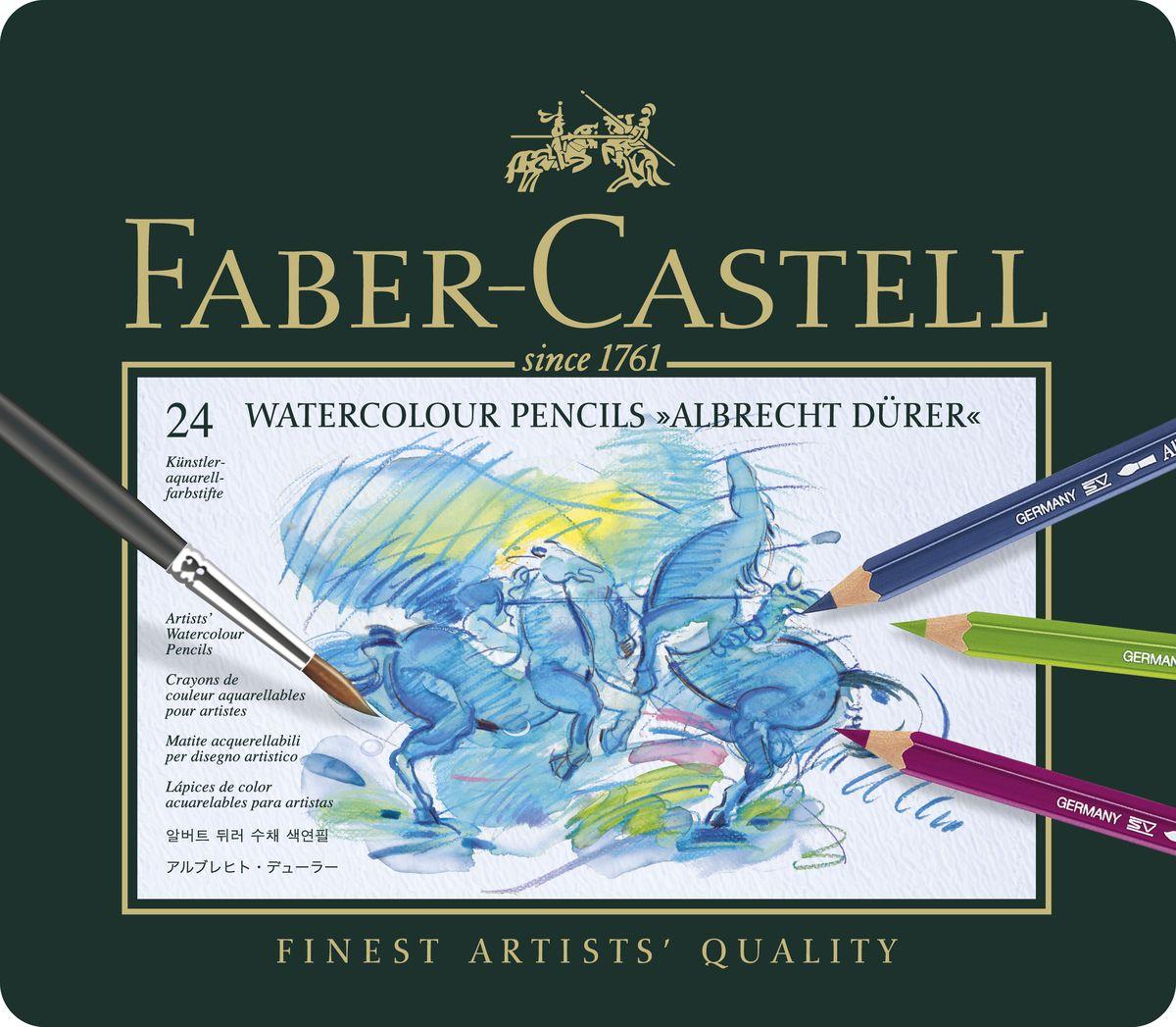 Faber-Castell Акварельные карандаши ALBRECHT DURER набор цветов в металлической коробке 24 шт117524• акварельные карандаши наивысшего качества • толстый грифель толщиной 3,8 мм • высококачественные пигменты гарантируют устойчивость к выцветанию, выразительный цвет