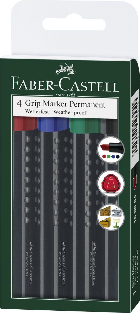 Faber-Castell Перманентный маркер Grip 4 шт150304Набор перманетных маркеров Faber-Castell включает в себя 4 маркера. Особенности маркеров: эргономичная трехгранная область захвата; идеален для любых поверхностей; линия маркировки шириной 2-5 мм; 4 ярких цвета; простая система повторного наполнения чернилами; быстрое высыхание; устойчивы к воздействию воды и стиранию. Такой набор станет незаменимым при любых работах, так как позволяет делать пометки и надписи на любых поверхностях, включая стекло, картон, дерево и металл.