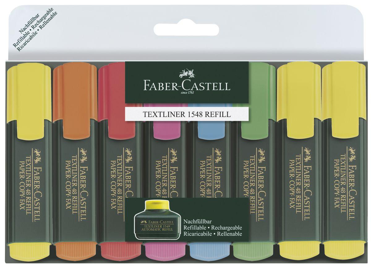 Faber-Castell Текстовыделитель 1548 набор цветов в футляре 8 шт154862очень качественный маркер • возможность повторного наполнения • чернила на водной основе • идеален для всех видов бумаги • линия маркировки шириной 5, 2 или 1 мм • 6 интенсивных цветов